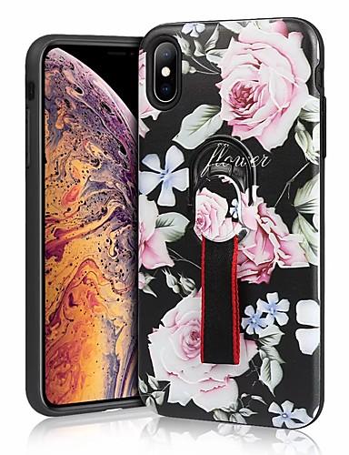 Etui Käyttötarkoitus Apple iPhone XS / iPhone XR / iPhone XS Max Iskunkestävä / Sormuksen pidike Takakuori Kukka Kova silikageeli