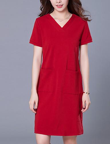 Women's Elegant A Line Dress - Solid Colored Green Wine Royal Blue XL XXL XXXL