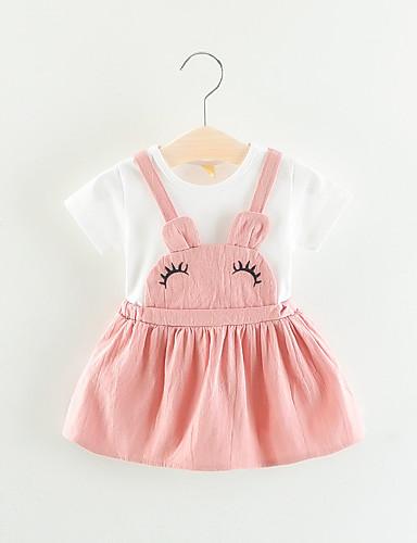 Μωρό Κοριτσίστικα Βασικό Μονόχρωμο Patchwork / Κεντητό Κοντομάνικο Πάνω από το Γόνατο Βαμβάκι Φόρεμα Ανθισμένο Ροζ