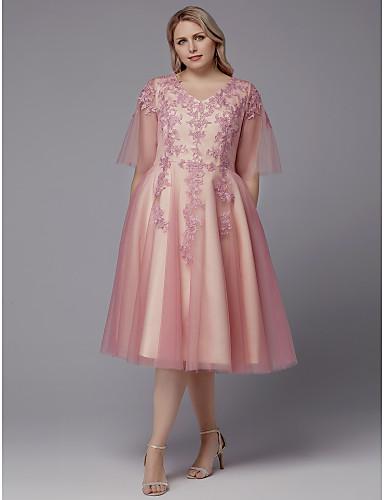 voordelige Grote maten jurken-A-lijn V-hals Over de knie Kant / Tule Cocktailparty Jurk met Appliqués door TS Couture®