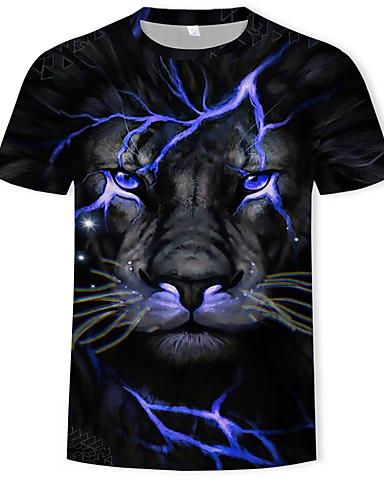 cheap Men's Tees & Tank Tops-Men's T-shirt - Color Block / 3D / Animal Print Round Neck Black XL