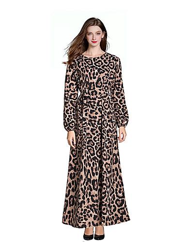 a61fae25cdaf Per donna Vintage Boho Swing Vestito Leopardata Maxi