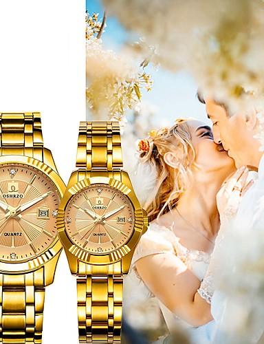 povoljno Satovi za parove-Par je Sat uz haljinu Kvarc odgovarajući Njegova i Njezina Nehrđajući čelik Zlatna 30 m Vodootpornost Kalendar New Design Analog Vintage Moda - Obala Crn Rose Gold