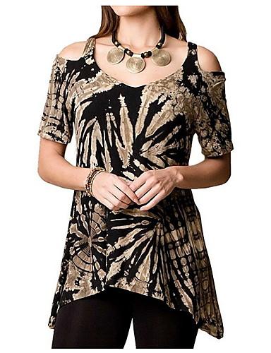 billige Dametopper-T-skjorte Dame - Trykt mønster, Utskjæring Rosa XXXL