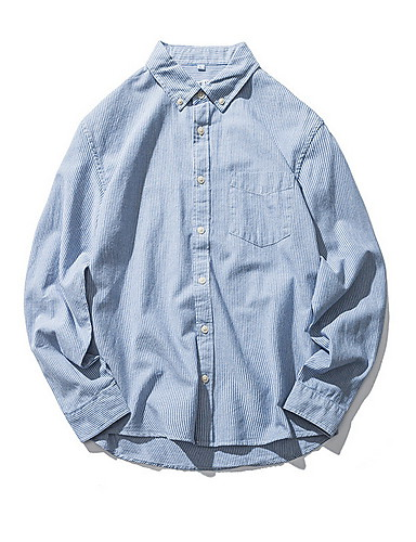 Men's Shirt - Solid Colored Blue XL