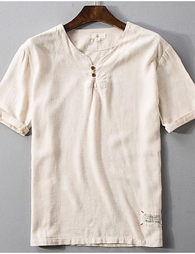 Enfärgad T-shirt Herr V-hals Beige XXXL