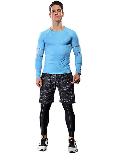 cheap Compression Clothing-Men's Women's 3pcs Compression Suit Long Sleeve Compression Shorts Base layer Pants Plus Size Lightweight Breathable Quick Dry Soft Sweat-wicking Sky Blue Red Green Spandex Road Bike Mountain Bike