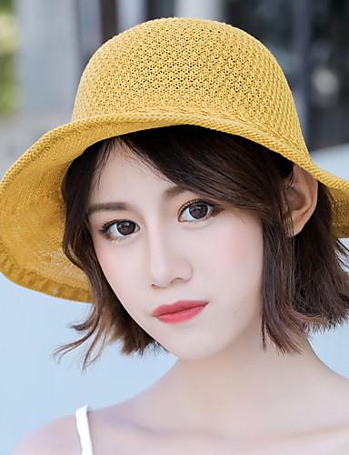 Women's Cute Polyester Straw Hat Sun Hat-Floral Print Summer Beige Yellow Khaki
