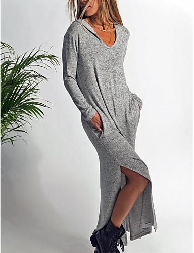 555abe774dbf Γυναικεία Κομψό Swing Φόρεμα - Μονόχρωμο Μακρύ