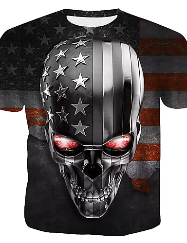 abordables Jour de l'Indépendance-Tee-shirt Homme, 3D / Crânes - Coton Imprimé Col Arrondi Arc-en-ciel XL / Manches Courtes