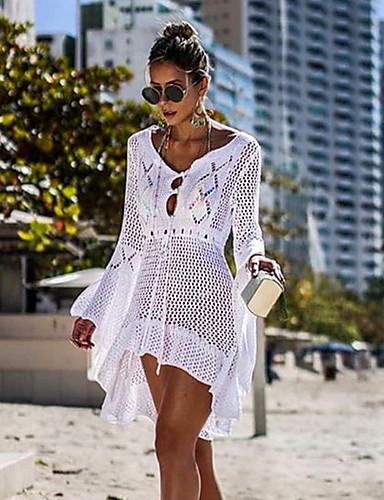 Per Donna Bianco Nero Beige Prendisole Costumi Da Bagno - Tinta Unita M L Bianco #07216391