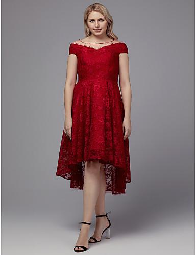 voordelige Grote maten jurken-A-lijn Scoophals Asymmetrisch Kant Cocktailparty Jurk met Kralen / Kant door TS Couture®