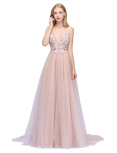 116605522bb A-Line Plunging Neck Sweep   Brush Train Tulle Dress with Beading   Sequin    Appliques by LAN TING Express