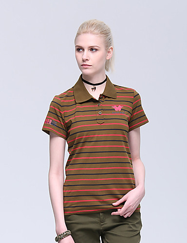 cheap Outdoor Clothing-Women's Hiking Tee shirt Short Sleeve Outdoor Breathable Quick Dry Sweat-wicking Comfortable Tee / T-shirt Top Autumn / Fall Spring Cotton Standing Collar Brown+Gray Hunting Military / Tactical