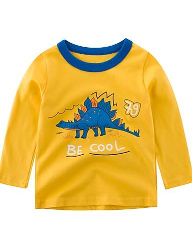 子供 男の子 活発的 プリント 長袖 ポリエステル Tシャツ ブルー