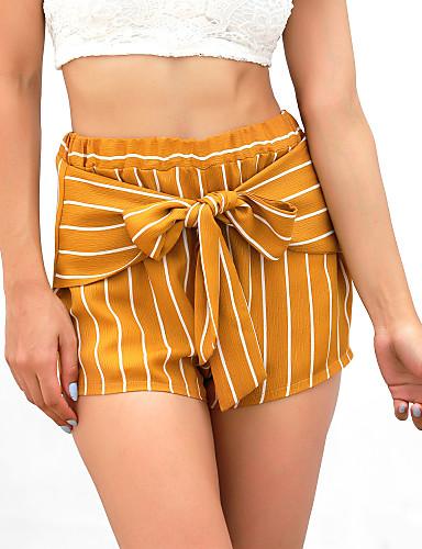 abordables Pantalons Femme-Femme Basique Short Pantalon - Couleur Pleine Jaune S M L