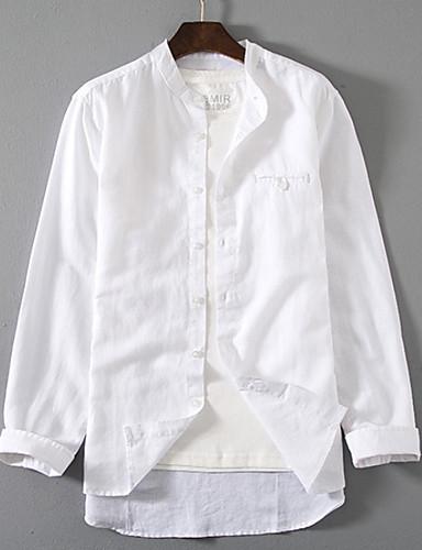 Pánské - Jednobarevné Košile Bílá XXL
