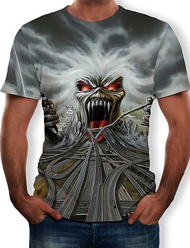 cheap Men's Tees & Tank Tops-Men's T-shirt - 3D / Skull Print Round Neck Gray XL