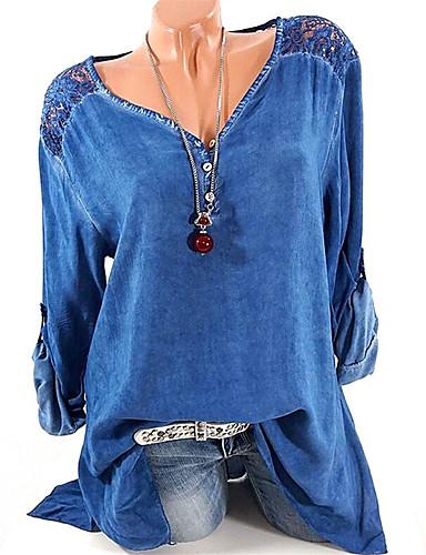billige Topper til damer-V-hals Skjorte Dame - Ensfarget, Blonde / Lapper Grå