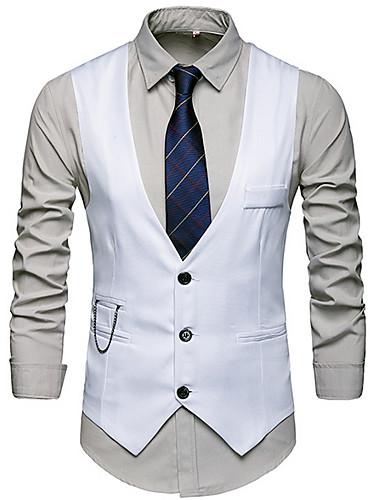 voordelige Herenblazers & kostuums-Heren Vest V-hals Katoen / Polyester Marineblauw / Grijs / Wijn / Slank