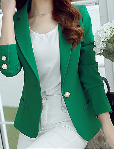 cheap Women's Outerwears & Sets-Women's Blazer V Neck Polyester Black / Pink / Royal Blue L / XL / XXL