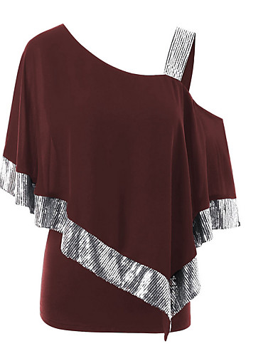 abordables Hauts pour Femmes-Tee-shirt Grandes Tailles Femme, Couleur Pleine Paillettes Une Epaule Noir