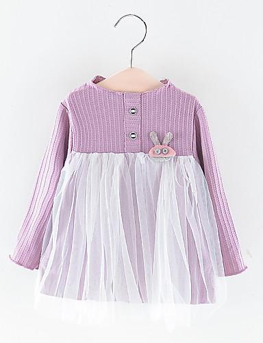 Baby Jente Grunnleggende Ensfarget Netting Langermet Ovenfor knéet Polyester Kjole Rosa