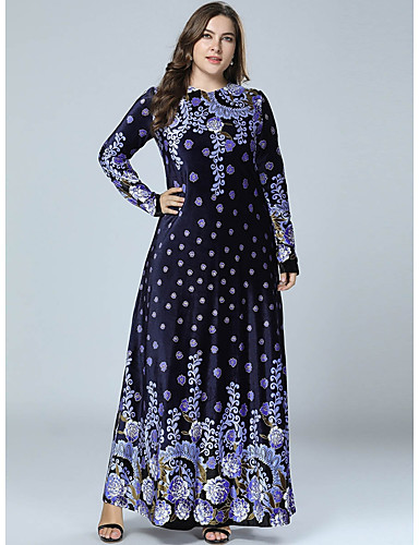 voordelige Grote maten jurken-Dames Street chic Elegant Recht Abaya Jurk - Geometrisch, Print Maxi