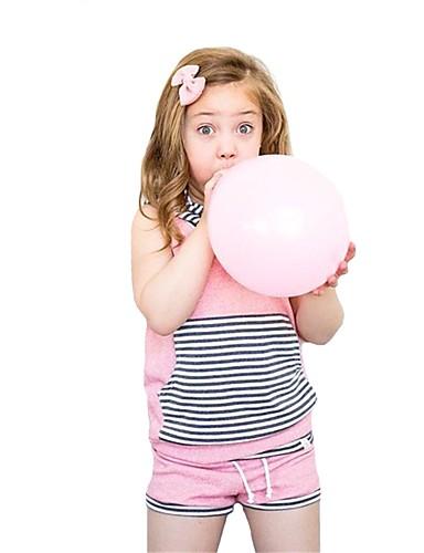 Μωρό Κοριτσίστικα Καθημερινό / Βασικό Ριγέ Patchwork Αμάνικο Κανονικό Κανονικό Βαμβάκι / Πολυεστέρας Σετ Ρούχων Ανθισμένο Ροζ