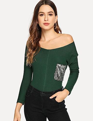 Mulheres Camiseta Paetês, Sólido Assimétrico Preto M