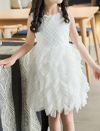 Παιδιά / Νήπιο Κοριτσίστικα Ενεργό / Γλυκός Μονόχρωμο Δαντέλα / Πολυεπίπεδο Αμάνικο Βαμβάκι / Πολυεστέρας Φόρεμα Λευκό