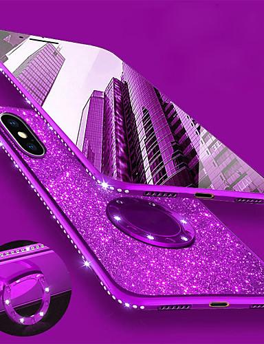 Case For Apple iPhone XS / iPhone XR / iPhone XS Max Rhinestone / Plating / Ring Holder Back Cover Glitter Shine / Rhinestone Soft TPU
