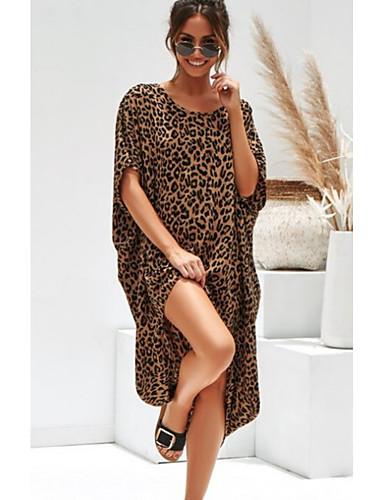 billige Kjoler-Dame Løstsittende Oversized Skiftet Kjole - Leopardprint Asymmetrisk