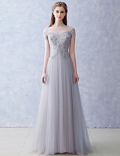 1dd6cbfa67fe cheap Bridesmaid Dresses-A-Line Illusion Neck Floor Length Tulle Bridesmaid  Dress with Appliques