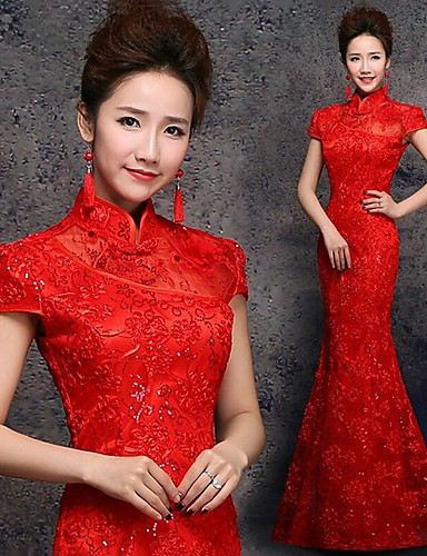 9f8b14c9d Adults' Women's Designed in China Chinese Style Wasp-Waisted Chinese Style  Cheongsam Qipao For Performance Engagement Party Bridal Shower Chinlon  Floor ...