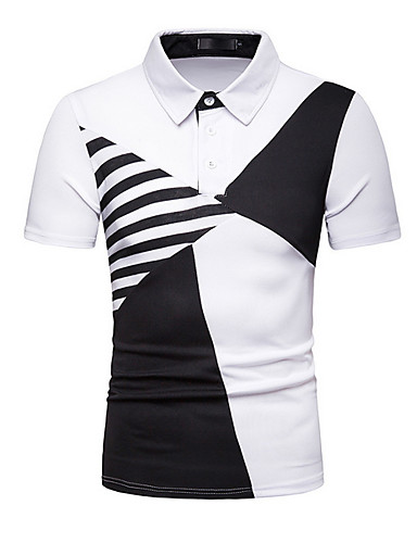 Χαμηλού Κόστους Αντρικές Μπλούζες-Ανδρικά Polo Γεωμετρικό Κολάρο Πουκαμίσου Λευκό L
