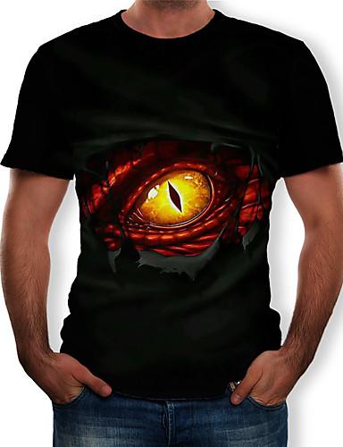 cheap Men's Tees & Tank Tops-Men's T-shirt - 3D / Animal / Cartoon Print Round Neck Black XL