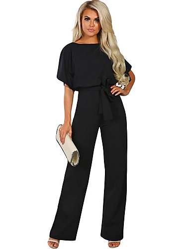 cf91f543baa Women s Birthday Basic Off Shoulder Black Pink Almond Wide Leg Skinny  Jumpsuit