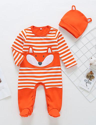 Baby Gutt Aktiv / Grunnleggende Stripet / Trykt mønster Langermet Bomull Endelt Oransje