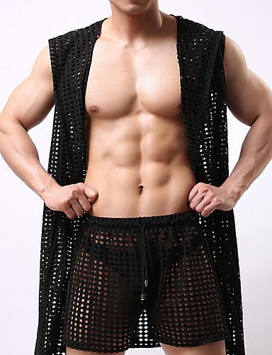 voordelige Herenondergoed & Zwemkleding-Heren Netstof Kostuum Nachtkleding Effen Zwart Rood Geel M L / Capuchon