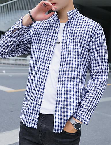 Men's Cotton Shirt - Color Block Print Blue XL