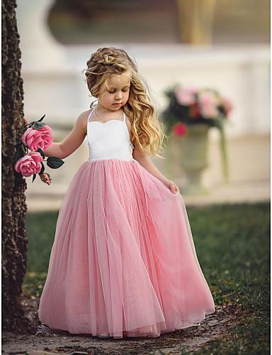 ราคาถูก ทารกและเด็ก-เด็ก เด็กผู้หญิง พื้นฐาน สีพื้น เสื้อไม่มีแขน ขนาดใหญ่ กระโปรงชุด สีแดงชมพู
