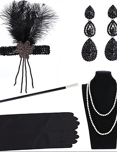 cheap Historical & Vintage Costumes-The Great Gatsby Charleston 1920s The Great Gatsby Masquerade Costume Accessory Sets Women's Costume Bead Bracelet Pearl Necklace Black Vintage Cosplay Party Halloween / Headwear / Gloves
