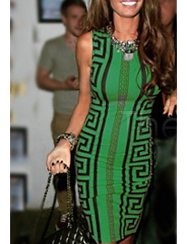 Women's Basic Bodycon Dress - Geometric Green S