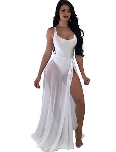 Per Donna Bianco Nero Arancione Prendisole Costumi Da Bagno - Tinta Unita L Xl Xxl Bianco #07199522
