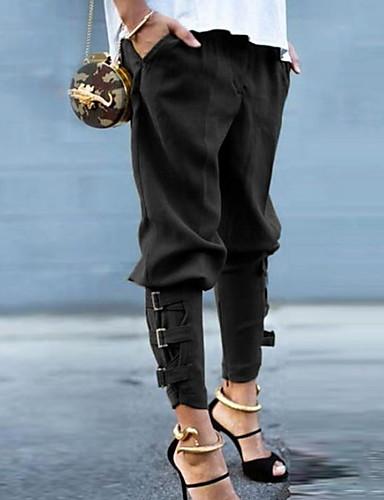 abordables Pantalons Femme-Femme Basique Joggings Pantalon - Couleur Pleine Noir Vert Véronèse S M L