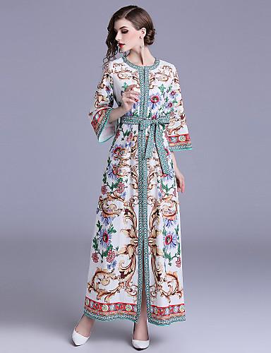 Mulheres Boho balanço Vestido - Estampado, Floral Estampado Cashemere Longo