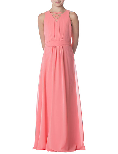 98b80b68148 Sheath   Column Jewel Neck Floor Length Chiffon Junior Bridesmaid Dress  with Pleats   Bandage by LAN TING BRIDE®