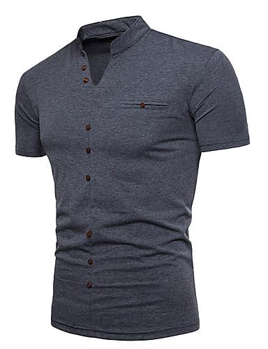 Miesten V kaula-aukko Yhtenäinen T-paita Musta