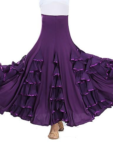 رخيصةأون ملابس الحفلات الراقصة-Ballroom Dance بنطلونات وفساتين نسائي التدريب / أداء شبكة / ألياف الحليب طيات / مكسرة / متدرجة ارتفاع متوسط تنانير